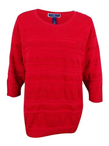 Karen Scott Womens Plus Knit Textured Pullover Sweater Red 2X from KAREN SCOTT