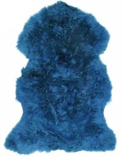 Lambland Hand Finished Premium British Sheepskin Rug in Cornflower Blue/Size Single