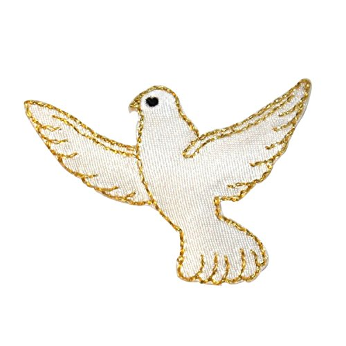 Dove Applique - ID 0626 Flying White Dove Patch Peace Love Bird Embroidered Iron On Applique