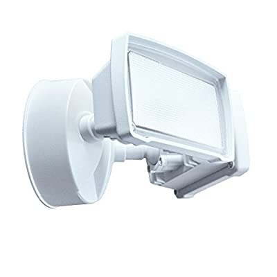 Good Earth Lighting Two Head LED Switch Controlled Security Flood Light - Bright White Light - 50,000 Hours Lamp Life - Direct Wire Installation - Energy Star - White