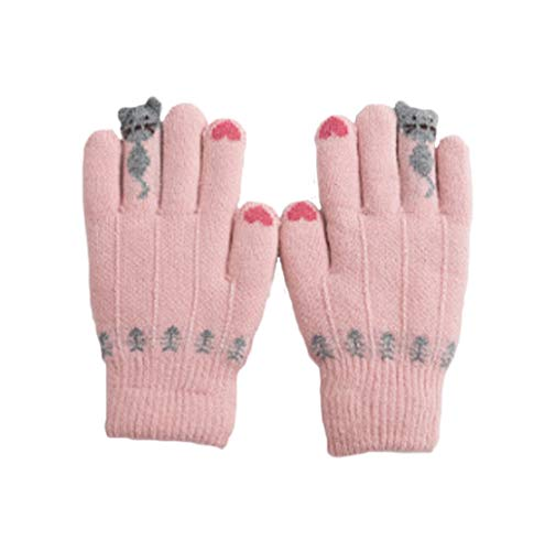 Kids Thick Thermal Gloves Winter Warmer Knit Wool Full Finger Mittens Hand Wear (pink) ()