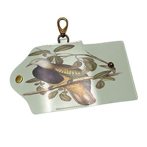 Partridge Bird Print Leather Keychain Key Holder Case Wallet for Men Women Keys bag
