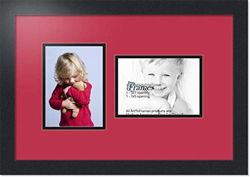 ArtToFrames Collage Photo Frame Double Mat with 2 - 5x7 Openings and Satin Black Frame