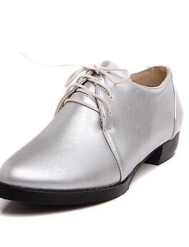 5 Silver Plano Vestido Oficina Zapatos Golden Uk8 Semicuero Y Oro Plata De Trabajo us10 us6 Cn36 Tacón Oxfords Puntiagudos Mujer 5 Eu36 Eu42 Zq Uk4 Cn43 HFIA1vqwA