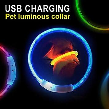 Fousamax Wiederaufladbare blinkende Nacht Sicherheit LED Hundehalsb/änder USB Leucht Haustier Halsband f/ür Hund Katze