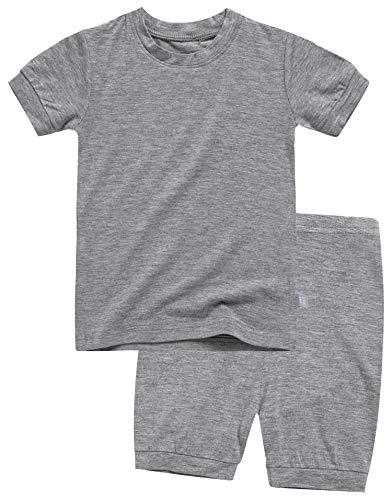 Boys Short Sleeve Sleepwear Pajamas 2pcs Set Short Colorful Grey XXL