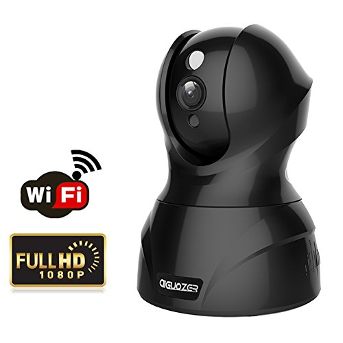 Aiguozer 1080P Wifi Wireless IP Camera Home Security Camera Business CCTV Pan/Tilt Video Camera Surveillance System with Motion Detection,Snapshout Alert, Night Vision and Two-Way Audio (Black)