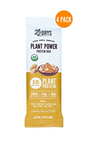 22 Days Nutrition Organic Protein Bar, Chunky Peanut Butter, 4 Count | Plant Based Protein Bars, Gluten Free, Vegan, Soy Free, Real Food, Dairy Free, 15g Protein, Low Sugar (5g), Fiber (8g)