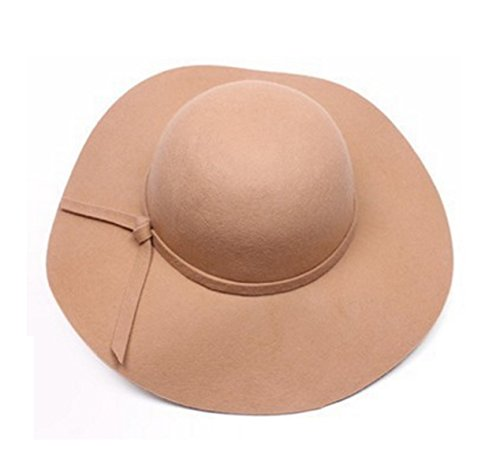 Onlineb2c Vintage Baby Girls Floppy Wide Brim Wool Felt Fedora Cloche Hat Cap (Camel) -