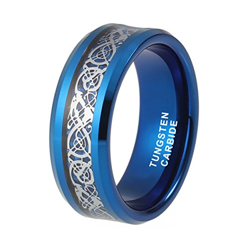 Wedding Band for Men 8mm Blue Tungsten Ring Silver Celtic Dragon Inlay Over Blue Carbon Fiber Beveled Edges (10)