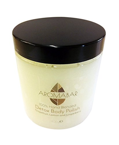 Detox Dead Sea Salt & Shea Butter Body Polish Scrub 400g Contains detoxing Grapefruit, Lemon and Juniperberry Pure Essential Oils Paraben Free 100% Natural product packed with minerals and moisturising oils Aromabar