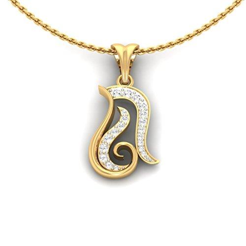 Or jaune 14K 0.25CT TW Round-cut-diamond (IJ | SI) diamant Pendentif