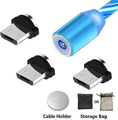 Kyerivs Cable Micro USB Magnetico con Luz LED Que Fluye Visible Cargador para Teléfono Android Serie-Samsung Galaxy S6/S7/S7 Edge/S4/S3,Sony, ...