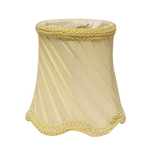 Slant Swirled Side Pleat Chandelier Lampshade with Flame Clip, Oyster (Set of 6), (SI04019) ()