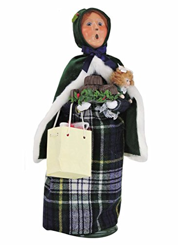 Kensington Row Christmas Collection HOLIDAY FIGURINES - BYERS CHOICE CHRISTMAS SHOPPING WOMAN WITH GIFTS & SWEETS - TARTAN PLAID
