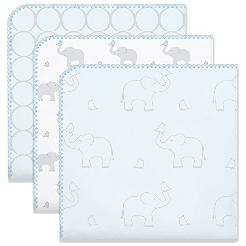 Swaddledesigns Blanket Ultimate Swaddling - SwaddleDesigns Ultimate Swaddles, Set of 3, X-Large Receiving Blankets, Made in USA Premium Cotton Flannel, Mod Circles and Elephants, Sunwashed Blue (Mom's Choice Award Winner)