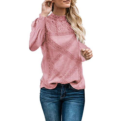 (TUSANG Womens Lace Patchwork Flare Ruffles Long Sleeve Cute Floral Shirt Blouse Top Shirt Solid(Pink,XL))