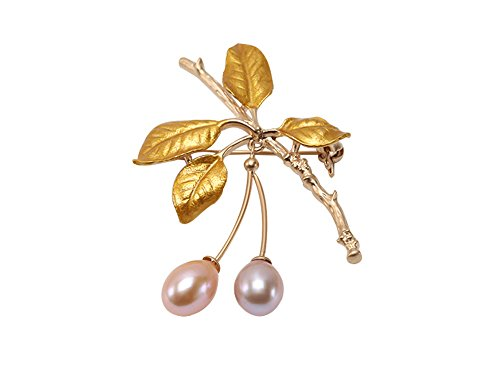 JYX Lustrous 9.5-12.5mm Pearl Golden Leaves Brooches Pins
