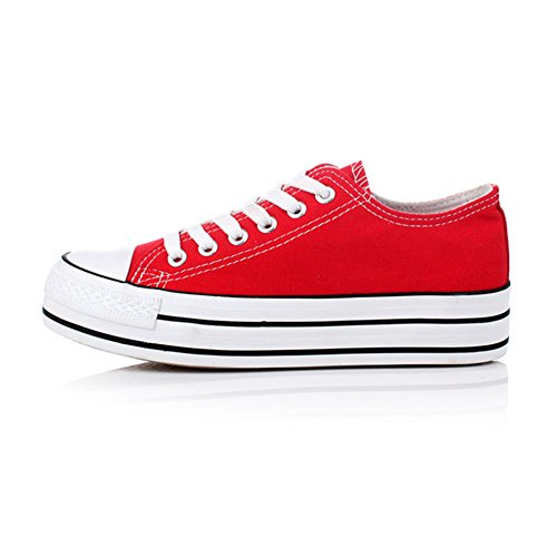 Summerwhisper Womens Fashion Low Top Plimsoll Flat Canvas Shoes Sneakers Lace up Red gSFYZD