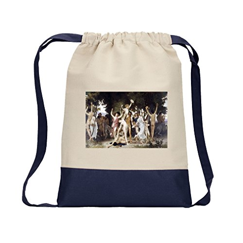 The Youth Of Bacchus (Bouguereau) Canvas Backpack Color Drawstring - - Canvas Bacchus