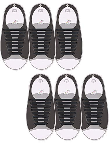 Hestya 6 Pairs No Tie Shoelaces for Kids and Adults, Waterproof Silicone Flat Elastic Athletic Sport Shoe Laces for Sneakers Board Shoes (Black)