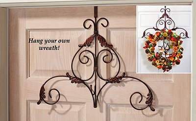 Decorative Metal Scroll Holiday Wreath Hanger