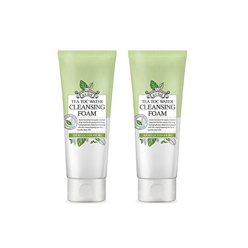 TeaToc Green Tea Water Cleansing Foam | Hypoallergenic Moisturizing Korean Cleansing Foam (2 pack)