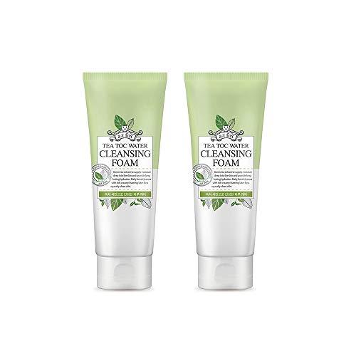 TeaToc Green Tea Water Cleansing Foam | Hypoallergenic Moisturizing Korean Cleansing Foam (2 pack) (Best Korean Facial Cleanser)