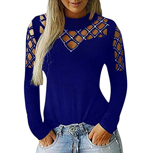 PEIZH Fashion Womens Tops Long Sleeve Cut Hollow Casual Out Rhinestone Blouse T-Shirt Cutout Cut Diamond Top Blue ()