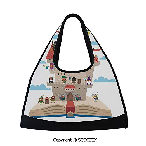 Fitness bag,Fairy Tale Story Book Castle King Queen Princess Dragon Witch Knight Wizard Vikings Theme Print,Bag for Women and Men(18.5x6.7x20 in)]()