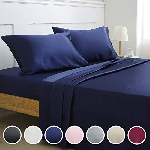 Vonty Satin Sheets Queen Size Silky Soft Satin Bed Sheets