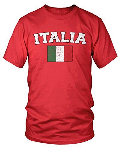 (Amdesco Men's Italian Flag, Flag of Italy, Love Italia T-Shirt, Red)