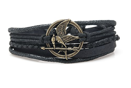 Orti Jewelry Original Fashion Bracelet – Handmade Leather, Metal & Rope Bangle, Stylish Design, Unisex Jewelry, Adorable Romantic Christmas Gift Idea – Bird with Arrow Rope and Leather Adjustable Unisex Charm Bracelet