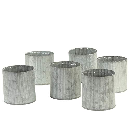 Koyal Wholesale Corrugated Zinc Cylinder Vases, Farmhouse Vases Set of 6, Gray Ribbed Metal Containers for Wedding, Rustic Planters, Succulent Flower Pots, French Galvanized Décor, Waterproof (4-Inch) -