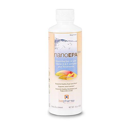 Biopharma Scientific NanoEPA Emulsified Liquid Fish Oil | Mango Peach Flavor | Vitamin D & E Complex and Tocotrienols, Tocopherols, DHA, Omega-3 Fatty Acids