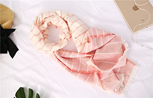 Cotton Striped Shawl Scarf Super Soft Long Lightweight Scarves For Women and Men (Small Size Orange) by Jeelow (Image #6)