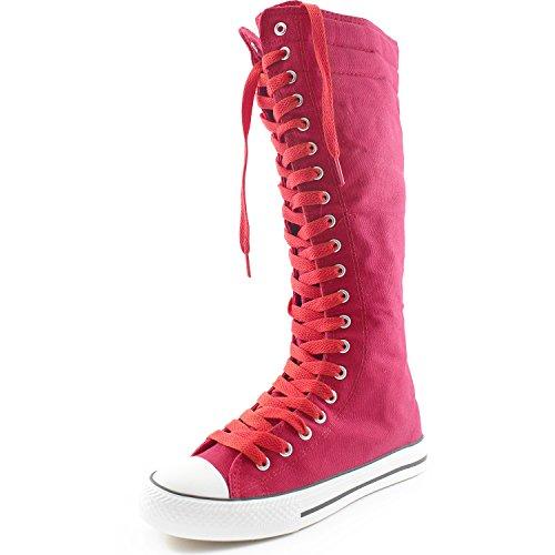 Damestas Dames Canvas Mid Kalf Lange Laarzen Casual Sneaker Punk Flat, Fuchsia Boots, Rose Red Lace
