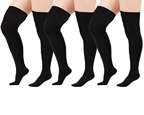 Zando Women Thin Over Knee Tube Stocking Socks Plus Size Thigh High Tube Socks Long Striped Striped Leg Warmers Sock 3 Pack Black US Size -
