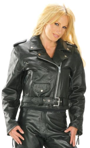 Xelement Classic Womens Black Leather Jacket - Large