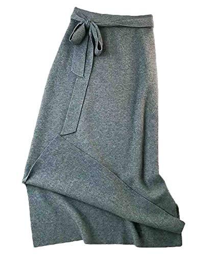 KLJR Women A-Line Split Slim Knit High Waisted Belted Long Skirt Grey OS