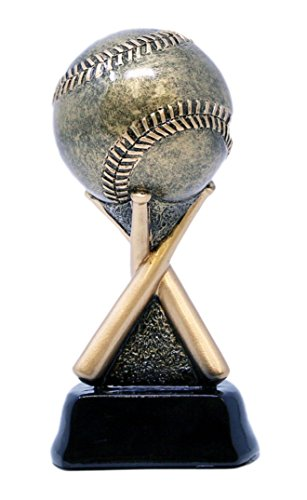 Decade Awards Baseball on Bats Trophy - Gold | Baseball Team Award | 6.5 Inch Tall - Free Engraved Plate on Request
