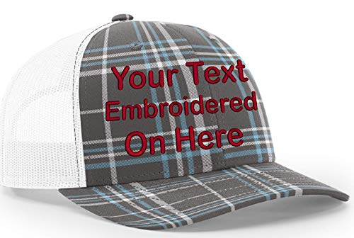 Custom Richardson 112 Hat with Your Text Embroidered Trucker Mesh Snapback Cap (Adjustable Snapback Plaid Colorway, Plaid Charcoal/Columbia Blue/White)