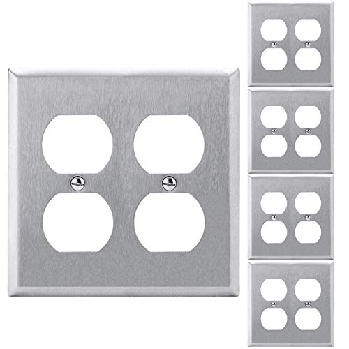 [5 Pack] BESTTEN 2-Gang Duplex Stainless Steel Wall Plates, Standard Metal Outlet Cover, Durable Corrosion Resistant, Industrial Grade 304SS Material, UL Listed, Silver