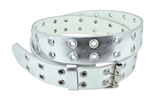 Belle Donne - Women's Double Grommet Leather Jeans Belt, Silver , Size (Ladies Leather Jeans)