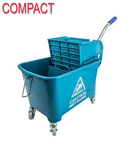 - Compact Mini Mop Bucket w/Side Press Wringer 17 QT Yellow, Blue & Green by janiLink (Green)