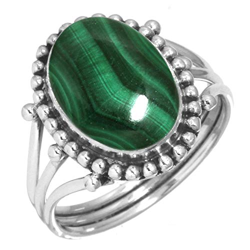 - Natural Malachite Women Jewelry 925 Sterling Silver Ring Size 9