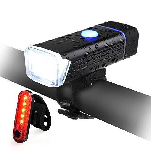 QIANXIANG Bike Light Set, Bicycle LED Headlight and Taillight Set, USB Rechargeable IPX6 Waterproof Super Bright Safety Bicycle Light with 4 Modes for Bicycles, Road, MTB, Scooter