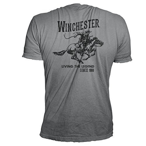 Winchester Official Men's Vintage Rider Graphic Printed Short Sleeve T-Shirt (2XL, Charcoal) - Mens Vintage T-shirt Charcoal