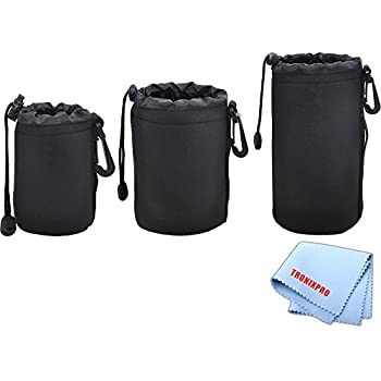 3 Soft Lens Pouches for Digital Camera DSLR Lenses. Small, Medium and Large for Canon, Sony, Pentax, Nikon, Olympus, Panasonic, Nikkor with Drawstring | Water Resistant