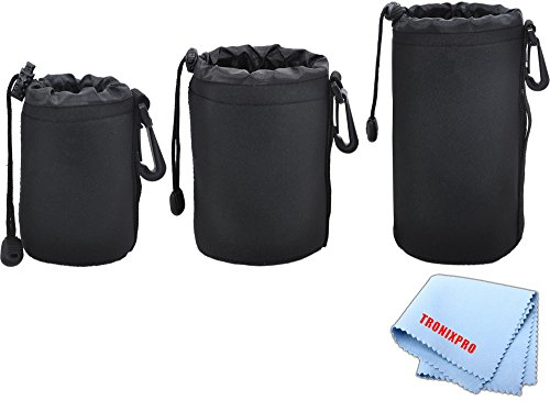 3 Soft Lens Pouches for Digital Camera DSLR Lenses. Small, Medium and Large for Canon, Sony, Pentax, Nikon, Olympus, Panasonic, Nikkor with Drawstring | Water Resistant -